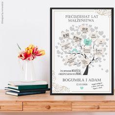 Spersonalizowany plakat na rocznicę ślubu to doskonały pomysł na prezent dla rodziców, przyjaciół, dziadków lub innych bliskich osób, którzy właśnie świętują swój jubileusz. Taki plakat przypominała o wszystkich dniach spędzonych razem. Kids And Parenting, Decoupage, Diy And Crafts, Brat, Gifts, Decorating, Poster, Decor, Presents