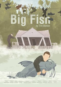 Affiche de film Big Fish Poster Tim Burton A3 par MinusculeMotion Big Fish Film, Big Fish Movie, Film Big, Love Movie, Art Tim Burton, Tim Burton Kunst, Tim Burton Films, Minimal Movie Posters, Minimal Poster