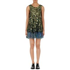 Koche Women's Feather-Trimmed Sequined Dress ($1,260) ❤ liked on Polyvore featuring dresses, gold, embellished dress, beaded dress, sequin embellished dress, multi-color dress and colorful cocktail dress