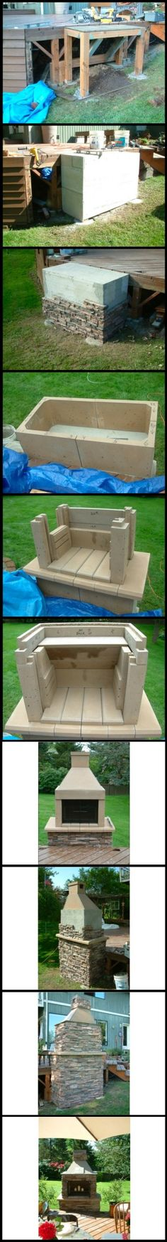Before-During-After images of a customer's #DIY outdoor #fireplace kit assembly - see more outdoor fireplaces: http://www.mantelsdirect.com/outdoor_fireplaces.html?utm_source=pinterest&utm_medium=social&utm_campaign=outdoorfirepits&cpao=130&cpca=pinterest&cpag=social&kw=outdoorfirepits
