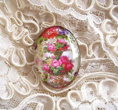 Vintage Floral 30X40mm Glitter Unset Handmade Art Bubble Cameo Cabochon #Handmade #Cameo