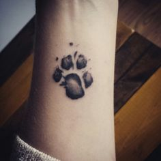 My dogs pawprint, shrunken on my forearm. #pawprint #tattoo