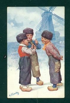 Feiertag Postcard ♥of Three Dutch Boys Smoking