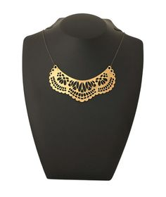 French Collar Necklace Gold- leather with gold foil!
