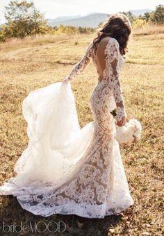 Fishtail - Mermaid, Long Sleeves - With Sleeves, Lace and Backless wedding dress Wedding Dress 2303 #fashionablebeddingideas