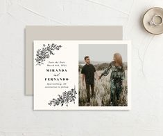 Your favorite engagement photo is accented by gorgeous botanical branches on this save the date card. Modern Save The Dates, Wedding Save The Dates, Save The Date Invitations, Save The Date Cards, Wedding Engagement, Engagement Photos, Fantasy Wedding, Wedding Pinterest, Rustic Design