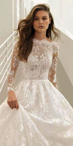 55f319b4c90 rosa clara couture 2018 bridal trends illusion long sleeves bateau lace  ball gown wedding dress (pastora) mv romantic -- 2018 Wedding Dress Trends  to Love ...