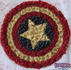 Captain American themed party fruit tray or make a fruit pizza