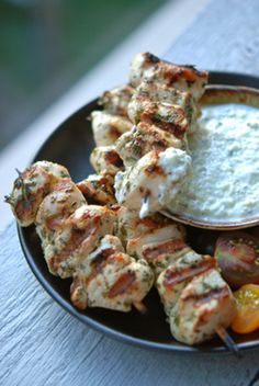 Herby Chicken Skewers with Cucumber Mint Yogurt Dipping Sauce