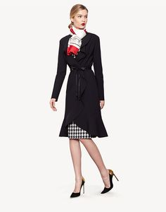 Carolina Herrera - Pre-fall 2013 - gorgeous black coat / checked dress.