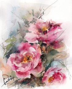Peonies Painting Original Watercolor Painting Flowers by CanotStop