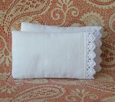 Dollhouse Miniature Set of 2 White Pillows with Diamond Lace Trim - 1/12 scale