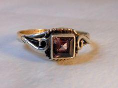 Vintage Sterling Amethyst Rectangle Ring      Genuine Purple Amethyst Bezel Set  Size 7 by GemstoneCowboy on Etsy
