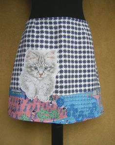 Fluffy White Cat embroidery skirt A-line skirt kitten by LUREaLURE