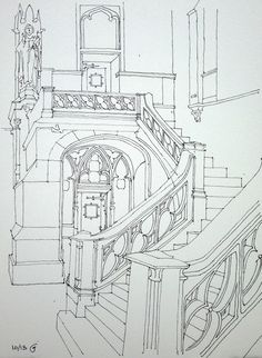 Freehand ink sketch on location at Queen of All Saints Church in Fort Greene Brooklyn. Interior Architecture Drawing, Architecture Drawing Sketchbooks, Architecture Concept Drawings, Watercolor Architecture, Interior Design Sketches, Classical Architecture, Perspective Drawing Lessons, Perspective Art, Background Drawing