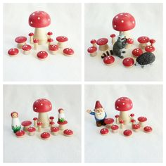 Set of 12 hand painted wood mushrooms woodland party decor pretend play mat accessory fairy fairytale storytelling storybook forest toy by MyBigWorld2015 on Etsy