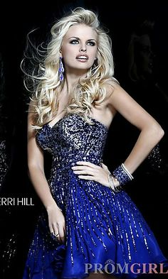 Short Sequin Strapless Dress by Sherri Hill 8524 at PromGirl.com