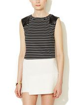 Striped Faux Leather Accent Crop Top
