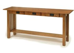 Amish American Mission Sofa Table with Three Drawers | Amish Sofa Tables | Amish Accent Tables 2910