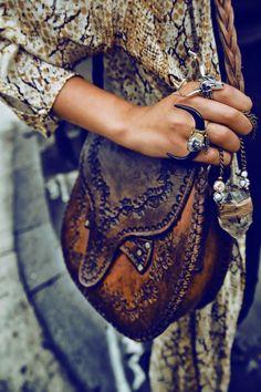 snake & tooled leather