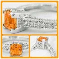 Love this engagement ring!  1.11 ctw Princess Cut Orange Sapphire Diamond Ring in 14k white gold