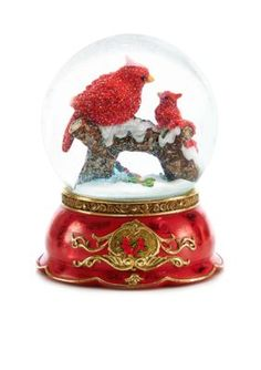 Home Accents  Woodland Wonder Cardinal Mom and Baby Snow Globe