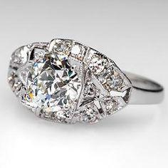 Antique Engagement Ring w/ 1 Carat Old Euro Diamond in Platinum Circa 1920's