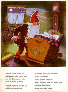 Martta Wendelin Met tekst in het fins. Baumgarten, Elves And Fairies, Fairy Garden Houses, Vintage Christmas Cards, Faeries, Troll, Martini, Finland, Lettering