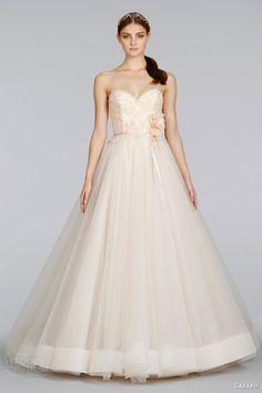 lazaro wedding dresses spring 2014 blush strapless tulle ball gown style 3403