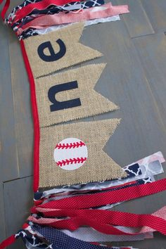 ONE Baseball Navy Blue & Red Highchair Burlap Bunting Banner for Boy First Birthday Party, Photo Prop by MsRogersNeighborhood Etsy shop