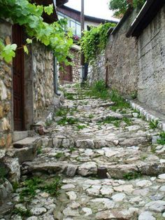 Typical beautiful streets with steps in Sarajevo