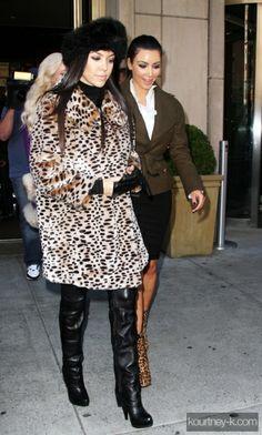 Kourtney Kardashian wearing American Apparel turtleneck Patricia Field Four Finger Gloves Lipsy Leopard Print Faux Fur Coat Firetrap Rowe Faux Fur Hat Report Kenley Over the Knee Boot. Kourtney Kardashian Strolling and Shopping in New York November 1 2010.