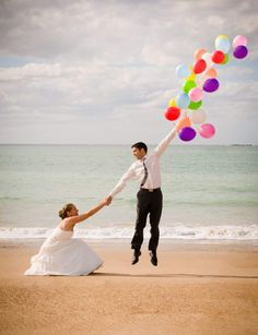 Photo, couple: shows wedding picture but could be just cute couple picture. Woman squatting and holding mans hand who is holding a large amount of balloons looking to be floating away Photo Couple, Family Photo, Here Comes The Bride, Cute Photos, Adorable Pictures, Happily Ever After, Wedding Pictures, Wedding Bells, Engagement Photos