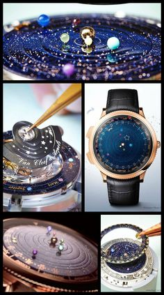 Van Cleef and Arpels Midnight Planetarium watch. Van Cleef and Arpels Midnight Planetarium watch, which shows the rotations of Earth and the closest planets. Via Diamonds in the Library. Van Cleef Arpels, Bling, Girls Best Friend, Luxury Watches, Watches For Men, Unique Watches, Casual Watches, Wrist Watches, Vintage Watches