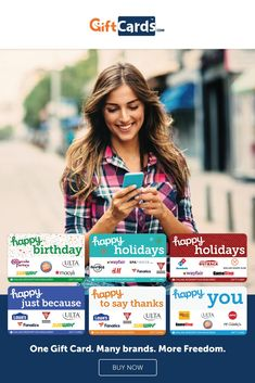 """Did you notice more """"multi-store"""" gift cards hitting the racks? You're not wrong. The hottest gift cards from 2019 are even better in 2020. We've got Happy Birthday, Happy Student and Happy Bride. Plus Happy Holidays and Happy Birthday and Happy Just Because. Each gift card is redeemable at the stores or restaurants listed on the card--some are digital and some are plastic. But all offer more ways to enjoy gift cards and I love them! Diy Holiday Gifts, Christmas Gifts, Get Happy, Happy Holidays, Happy Birthday, Cards, Xmas Gifts, Happy Brithday, Christmas Presents"""
