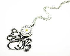 Small Clockworks Octopus Necklace  Watch Face Octopus by SteamSect