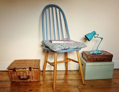 Sewing room by found and sewn - cornflower blue chair with Liberty print envelope cushion cover