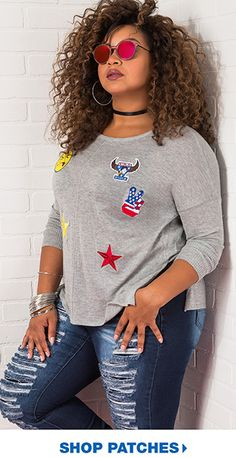 7babb3845176d Fall for these  Try the patches trend. Curvy Outfits