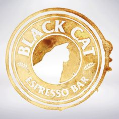 Blackcat Espresso Bar, coffee stained logo