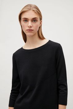 COS image 4 of A-line ribbed jumper in Navy