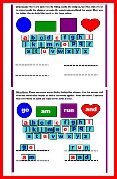 In this fun smart notebook activity, children will first find the word hidden in the shape by erasing inside the shape with the eraser tool. Next, they will use the letter tiles to spell the word. Includes ten interactive slides with all pre-primer words. $