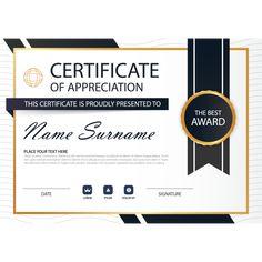Elegance horizontal certificate with Vector illustration Certificate Of Achievement Template, Certificate Design, Certificate Templates, Certificate Of Appreciation, Create Website, Banner Design, Your Design, Illustration, Frame