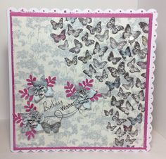 card designed by Kay Fletcher. Butterfly Kisses, Butterfly Cards, Butterflies, Craft Projects, Projects To Try, Craftwork Cards, Birthday Wishes, Quilts, Blanket