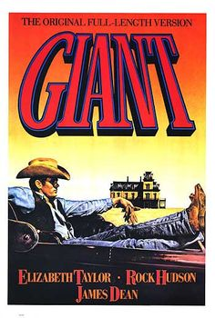"""Giant"", a 1956 movie starring Elizabeth Taylor and Rock Hudson with James Dean in his last film. James Dean one of a kind and before his time Best Movie Posters, Classic Movie Posters, Original Movie Posters, Classic Movies, Old Movies, Vintage Movies, Vintage Posters, Indie Movies, Comedy Movies"
