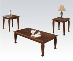Marion Cherry Wood 3pc Pack Coffee/End Table Set