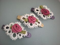 White Tatted Lace Rose Barrette by designedkeepsakes on Etsy, $10.00