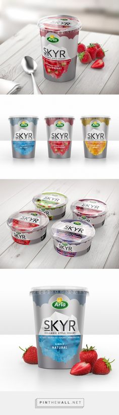Arla Skyr Yogurt on Packaging of the World - Creative Package Design Gallery. Yogurt Packaging, Dairy Packaging, Food Packaging Design, Packaging Design Inspiration, Brand Packaging, Branding Design, Bottle Design, Food Design, Package Design