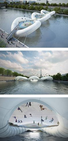 "OHMYGOSH I want to go here. Need to go back to Paris. Not just any bridge, ""A Bridge in Paris"" is exactly as it sounds, a trampoline-based structure that lets you hop over the water. Oh The Places You'll Go, Places To Travel, Places To Visit, Dream Vacations, Vacation Spots, France 3, Paris France, I Want To Travel, Future Travel"