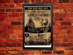 Rob Van Dam Vs Sabu Poster ECW! ECW! ECW! Vintage Wrestling Poster
