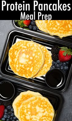 Need a healthy, high-protein, low-carb breakfast meal prep? Try these delicious protein pancakes! Serve with nut butter, monkfruit syrup, or berries. Healthy Breakfast Meal Prep, High Protein Breakfast, Breakfast Recipes, Protein Pancakes, Nut Butter, Syrup, Prepping, Berries, Lunch